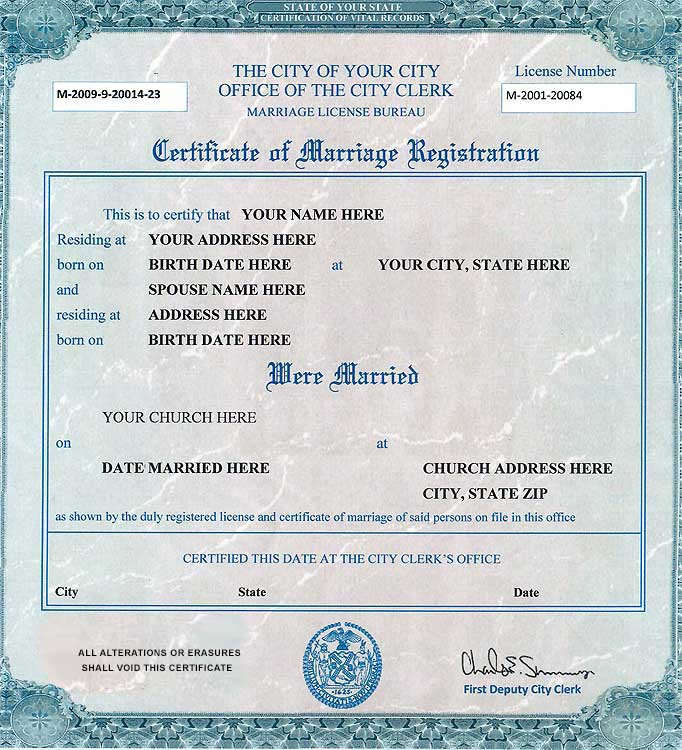 Certificado de matrimonio en Estados Unidos