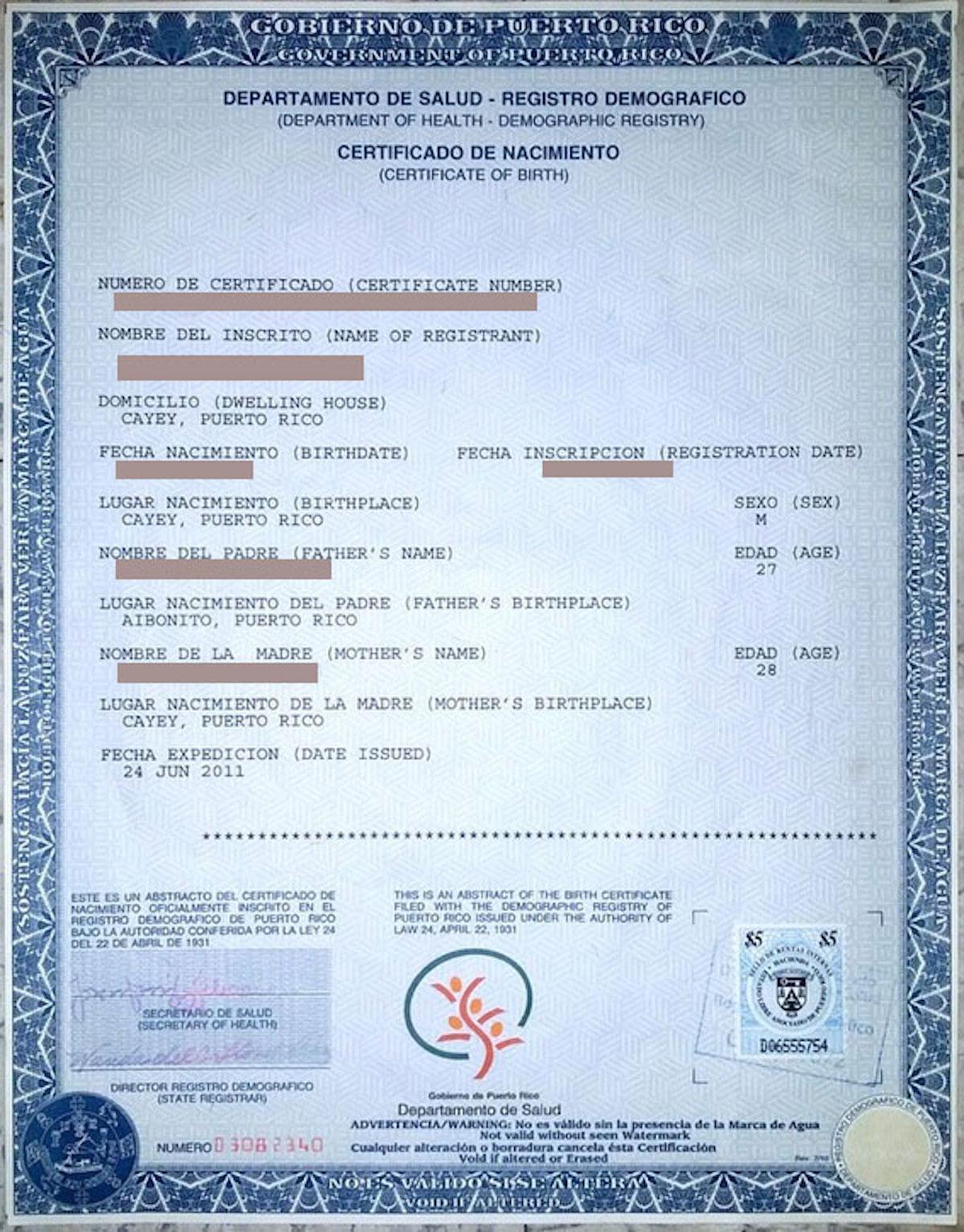 Certificado de nacimiento de Puerto Rico